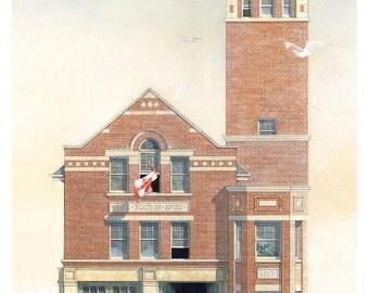History Buff Card, Hall 22, Main Street, Toronto // Fire Station Architecture, Toronto Firefighter, Architect, Planner, Engineer, Designer.