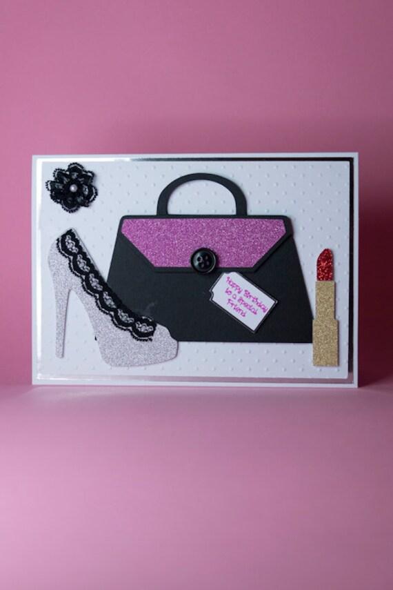 Handmade Shoe Handbag Lipstick GirlsLadies Birthday Card – Ladies Birthday Cards