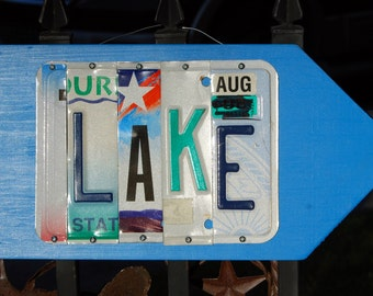 BEACH, CABIN, LAKE Custom made License Plate sign with arrow