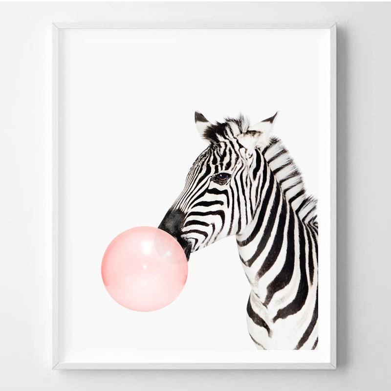 Zebra picture wall decor : Zebra print nursery animal art wall kids room