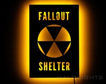 Lighted Fallout 4 Shelter Sign - Nuclear Apocalypse Wall Art - Illumnated LED Backlit Fallout Sign