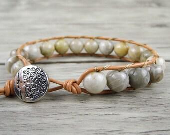 Single wrap bracelet beaded bracelet leather bracelet beads bracelet Gemstone bracelet Boho wrap bracelet Yoga bead bracelet SL-0148
