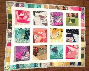 Crazy Quilt/Scrappy-Look Quilt/Lap Size Quilt/Large Crib Quilt/Aqua Minky