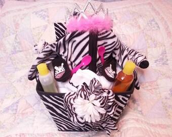 Zebra Princess Diaper Cake/Care basket