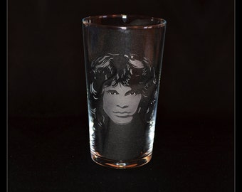 Jim Morrison The Doors hand engraved beer pint glass by JayEngrave