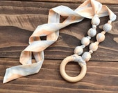 Fabric teething necklace - Gender neutral baby gift - Organic nursing necklace - Organic teething - Wood teething - Chevron necklace for mom