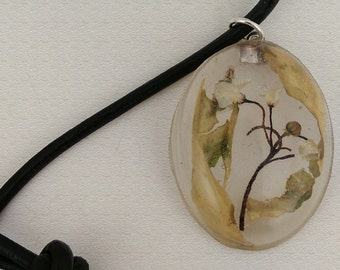 Adjustable Leather Necklace with Handmade Resin Pendant