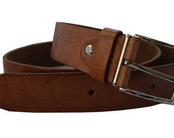 Handmade genuine leather belt in tan