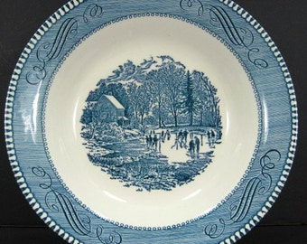 Royal China Currier Ives Early Winter 8 1/2in Soup Cereal Bowl Blue White