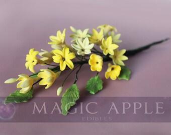 Sugar Yellow Wild Flower - HAND PAINTED gum paste yellow wild flower spray.