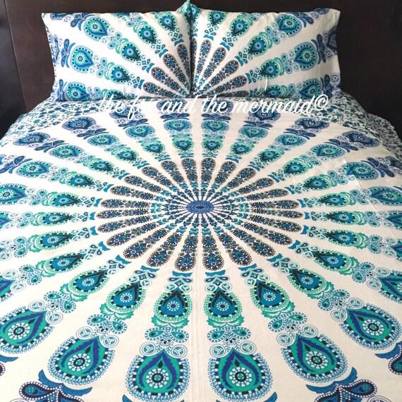 housse de couette de mandala indien et par thefoxandthemermaid. Black Bedroom Furniture Sets. Home Design Ideas