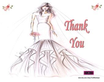 Printable Wedding Thank You Postcard, Wedding Thank You Postcards, Printable Postcards, Instant Download