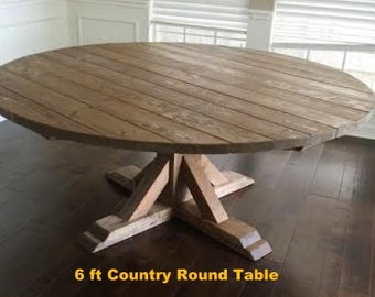 Round Farmhouse Dining Table ,  Plank Style Table Top **