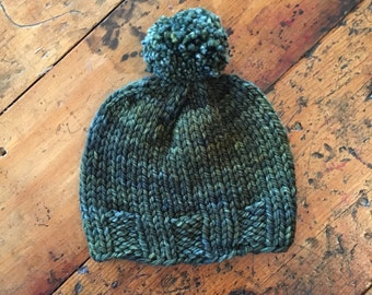 Hand-Knit Toddler Hat in Olive Green