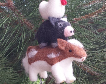 Rustic farm house ornament cow pig rooster country chic decor rustic farm house animal ornaments country Christmas ornament cow pig rooster