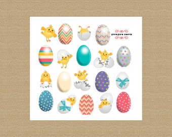 Easter egg stickers, retro design with easter chicks