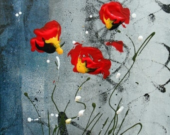 Painting red flowers