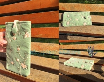 Green Lace iPhone 6 Case, Fabric iPhone 6 Plus Cases, Custom Floral Skin Cover for iPhone 5S