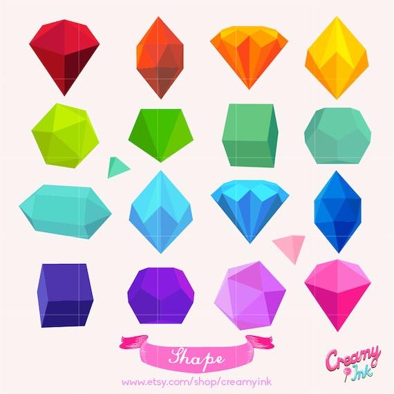3D Shapes Digital Vector Clip art / Colorful Shape Digital Clipart ...