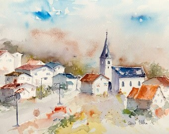Original watercolor of a French village, with houses, church, in Summer, original painting of a french village