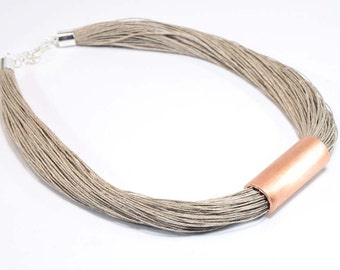 Flaxseed necklace with copper