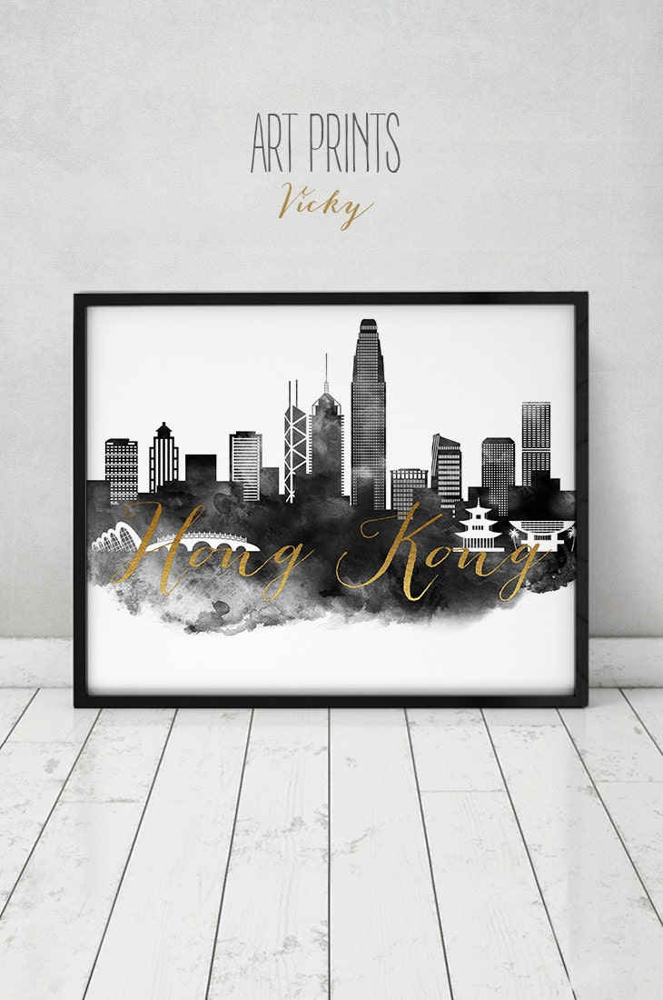 Wall Decoration Hk : Hong kong watercolor print poster wall art