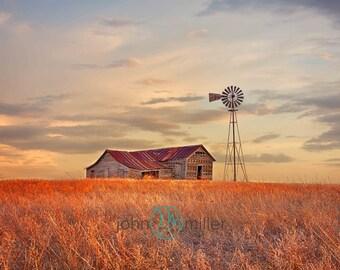 Home on the Range,  Farm Fine Art Print, Photography, Art Print, Sunset, Sunrise, Windmill