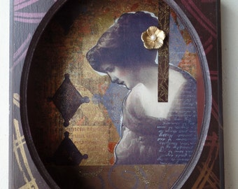 Celeste Vintage Photo Collage on Wood Shadowbox