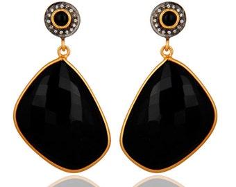 Black Onyx Earrings, CZ Earrings, 22k Gold Plated Earrings, Dangle Earrings, Drop Earrings, Bridesmaid Earrings, Gemstone Earrings