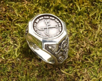 Sterling Silver Men's Metal Detecting / Treasure Hunting Ring Civil War Relic