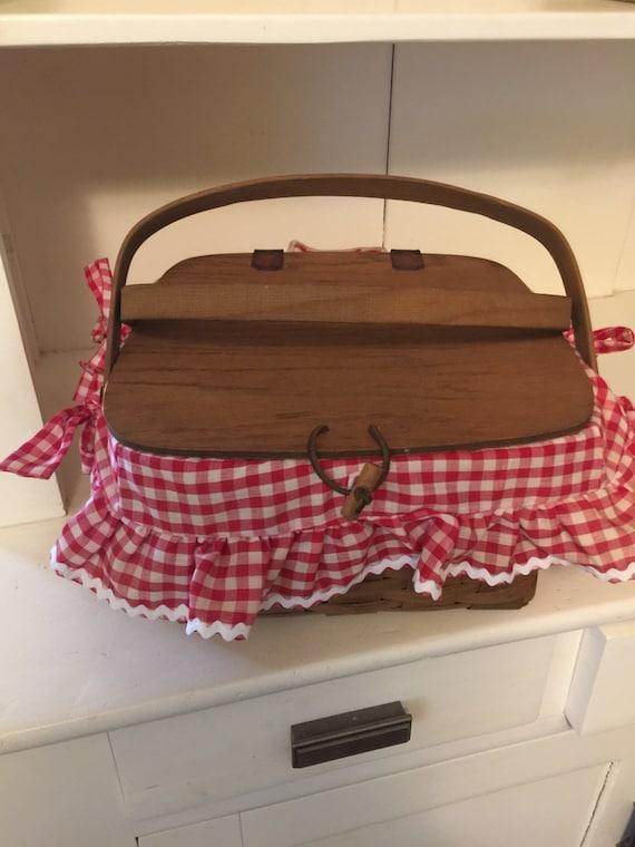 Handmade Longaberger Basket Liners : Small longaberger handmade picnic basket by