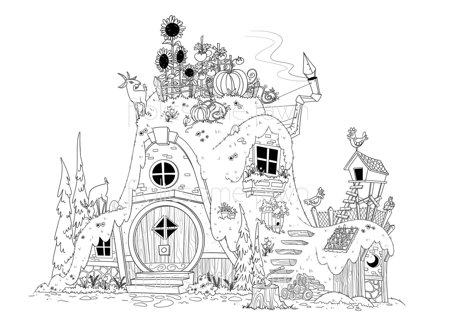 Fairy Tale Coloring Page for Adults
