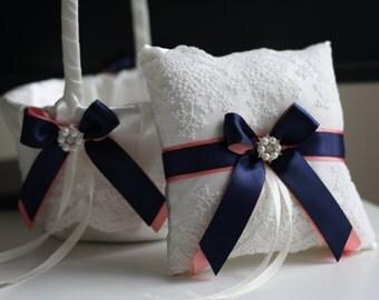 Coral and Navy Wedding Basket + Ring Bearer Pillow Set \ Navy Blue and Coral Lace Wedding Pillow + Flower Girl Basket Set \ Lace Ring Pillow