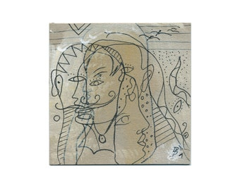 Flat story 10/10 cm image / painting-drawing