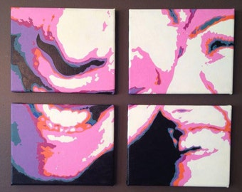 Custom Pop Art Portrait, Modern Acrylic and Oil Painting of Contemporary-style Family Portrait