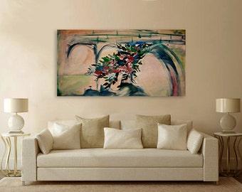 "Acrylic Painting on canvas - ""old bridge"" - Original art By Amit Yalin"