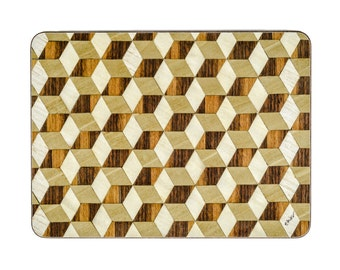 4 Walnut Placemats Geometric Place Mats Modern table mats Art Deco tablemats  Placemats Wedding Gift Retro Anniversary Gift for Couple Retro