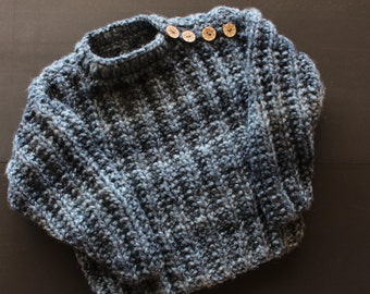 Pullover or sweater for children in marbled blue wool
