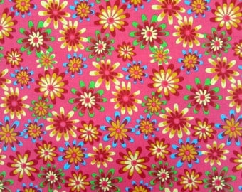 Flower Power Coral Fabric