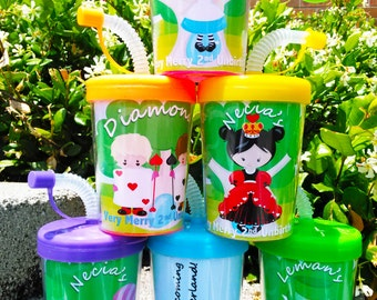 Alice in Wonderland's Story Book Personalized Party Favor Cups Set of 6, Classroom Kids, Alice in Wonderland for kids