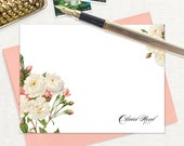 personalized flat note cards - WHITE and CORAL wild ROSES - set of 12 cards - stationery - stationary - botanical - floral - flowers