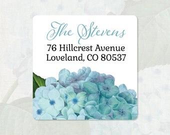 personalized return address label - BLUE HYDRANGEA FLOWER - square label - address sticker - set of 48