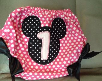 Minnie Mouse bloomers, first birthday blommers, minnie