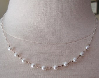 Sterling Silver 925 Stamped and Seed Pearls Linked Chain.
