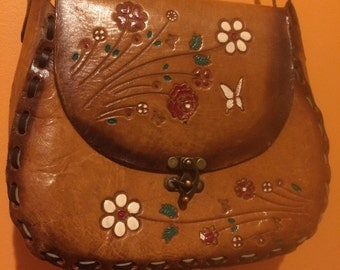 60s Flower Leather-Tooled Handbag