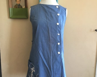 70s Chambray Color Romper with Anchor Design Size 10