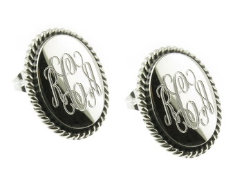 925 Sterling Silver Oval Rope Edge Monogram Personalized Earrings