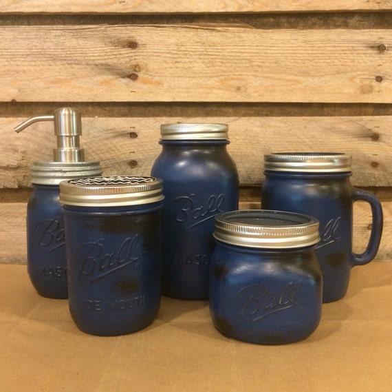 mason jar bathroom set rustic blue mason jars by americanagloriana. Black Bedroom Furniture Sets. Home Design Ideas