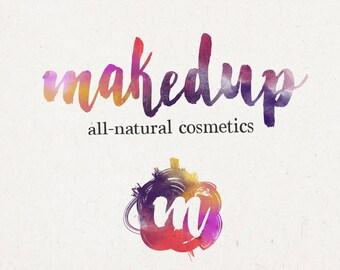 Watercolor Logo Design - premade logo, watercolor branding, make up logo, cosmetics logo, bright logo design, blog logo, colorful logo
