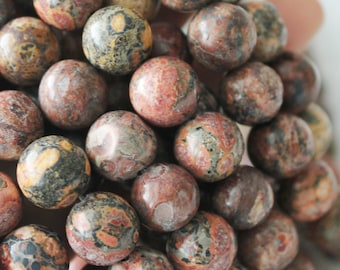 Red Leopardskin Jasper, 8mm Beads, Round Beads, Jaguar Stone, round gemstone, Red Beads, full strand, natural Gemstone,